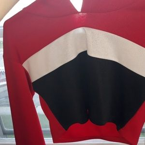 Red, black, and white crop hoodie